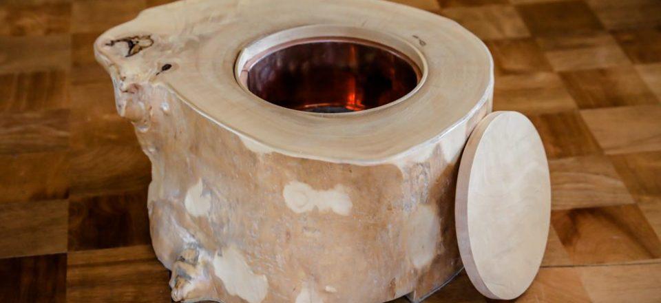 栃の輪切り火鉢